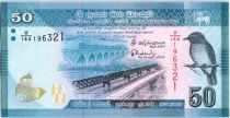 Sri-Lanka 50 Rupees Oiseau - Danseurs - 2015