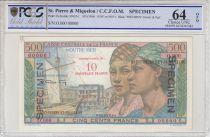 St-P. et Miquelon 10 NF / 500 Francs Pointe-À-Pitre - 1946 - Spécimen - PCGS 64 OPQ