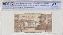 St-P. et Miquelon 20 Francs E. Gentil - 1946  - SPECIMEN - PCGS 63 OPQ