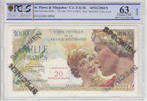 St-P. et Miquelon 20 NF / 1000 Francs Union Française - Spécimen - 1946 - PCGS 63 OPQ