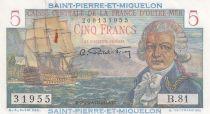 St-P. et Miquelon 5 Francs Bougainville - 1946  - Série B.81 n°31955