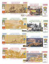 St-P. et Miquelon Lot 4 billets Fantisies - 1000 à 10000 Francs - 2018