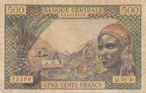Staaten Äquatorialen Afrikas 500 Francs ND1963 - Woman, mining industry, camels - D = GABON