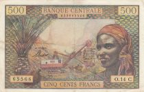 Staaten Äquatorialen Afrikas 500 Francs ND1963 - Woman, mining industry, camels - Serial O.14 - C = CONGO