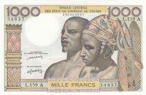 Staaten von Westafrika 1000 Francs River ND1977 - Serial L.159