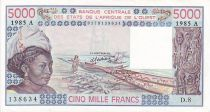 Staaten von Westafrika 5000 Francs Woman, fish, boat