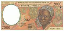 Staaten Zentralen Afrikas 2000 Francs 2000 - Woman, Tropicals fruits - P = Chad