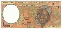 Staaten Zentralen Afrikas 2000 Francs Woman - Tropicals fruits - 2000 - Gabon