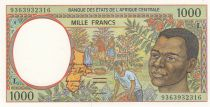 Stati dell\'Africa centrale 1000 Francs 1993 - Young man, river - L = Gabon