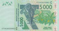 Stati dell\'Africa dell\'ovest 5000 Francs Mask - Antelopes - Burkina Faso 2017