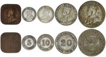 Straits Settlements 1, 5, 10, 20 , 50 cents Georges V  - 1920-1927
