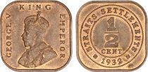 Straits Settlements 1/2 Cent George V - PIèce carrée - 1932