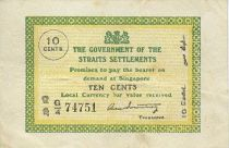 Straits Settlements 10 Cent Green and yellow
