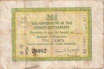 Straits Settlements 10 Cent Vert et jaune