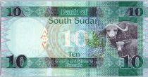 Sud Soudan 10 Pounds, Dr John Garang de Mabior - Buffles - 2015