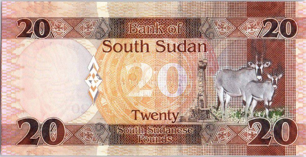 Sud Soudan 20 Pounds, Dr John Garang de Mabior - Antilopes - 2015