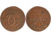 Suède 1/2 Skilling Charles XIII - Monogramme