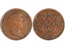 Suède 1/4 Skilling Charles XIV - Armoirie
