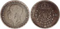 Suède 1 Krona 1942G - Armoiries, Gustaf V - Argent
