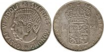 Suède 1 Krona 1962U - Armoiries, Gustaf VI - Argent