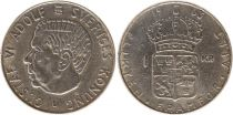 Suède 1 Krona 1963U - Armoiries, Gustaf VI - Argent