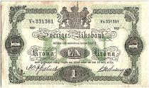 Suède 1 Krona Armoiries - 1921 - TB - P.32h - Préfix Vv