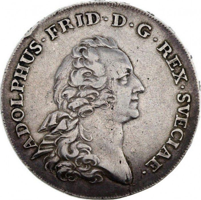 Suède 1 Riksdaler Adolf Frederick - Armoiries