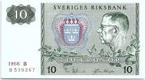 Suède 10 Kronor  Carl XVI Gustaf - 1966 - B - SPL - P.52b
