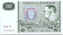 Suède 10 Kronor  Carl XVI Gustaf - 1966 - E - p.Neuf - P.52b