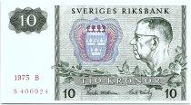 Suède 10 Kronor  Carl XVI Gustaf - 1975 - B - Neuf - P.52c