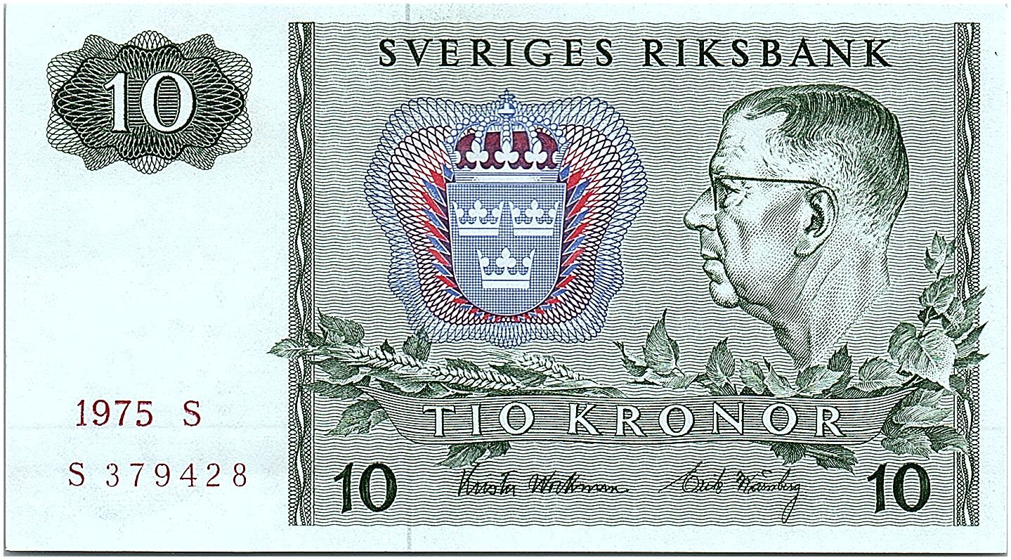 Suède 10 Kronor  Carl XVI Gustaf - 1975 - S - Neuf - P.52c