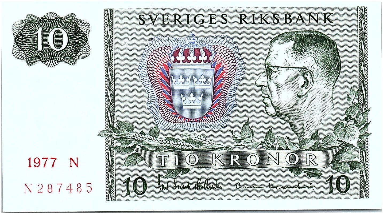 Suède 10 Kronor  Carl XVI Gustaf - 1977 - D - Neuf - P.52d