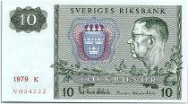 Suède 10 Kronor  Carl XVI Gustaf - 1979 - K - p.Neuf - P.52d