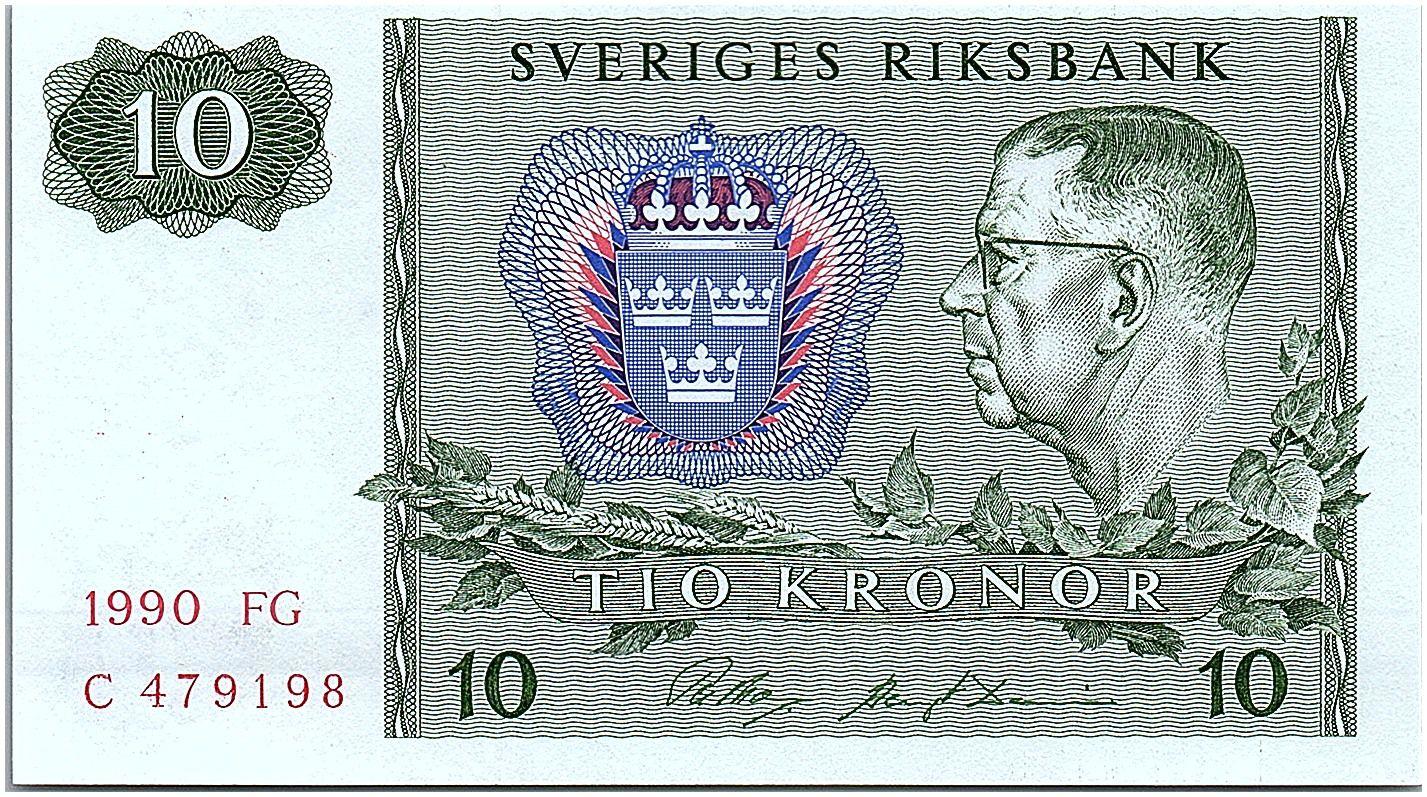 Suède 10 Kronor  Carl XVI Gustaf - 1990 - FG - Neuf - P.52e