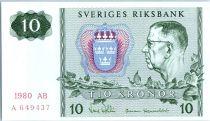 Suède 10 Kronor Roi Gustaf VI - 1980