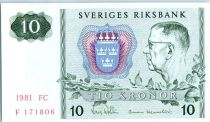 Suède 10 Kronor Roi Gustaf VI - 1981