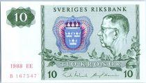 Suède 10 Kronor Roi Gustaf VI - 1988