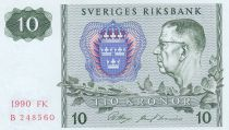Suède 10 Kronor Roi Gustaf VI - 1990