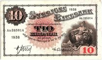 Suède 10 Kronor Svea - Gustav Vasa - 1938 - TTB - P.34 - Aa.285914