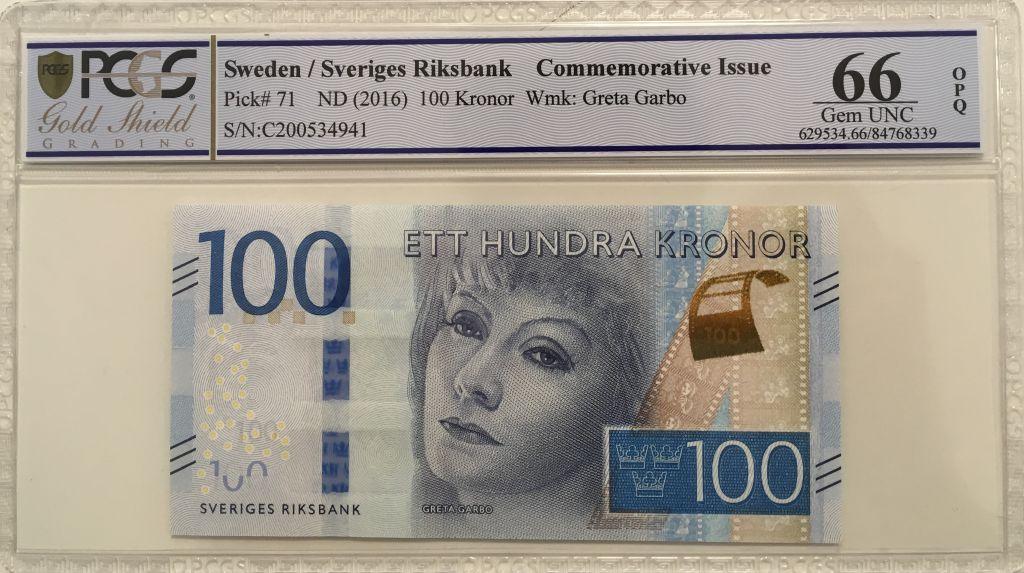 Suède 100 Kronor Greta Garbo - 2016 - PCGS 66 OPQ