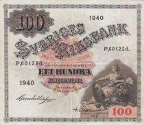 Suède 100 Kronor Svea - 1940 Série P.60123d- TTB - P.36w