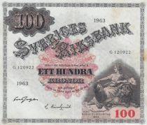 Suède 100 Kronor Svea - 1963 Série G.120922 TTB - P.38e