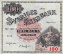 Suède 100 Kronor Svea - 1963 Série M.069398 - TTB - P.38e