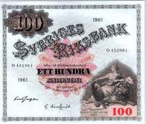 Suède 100 Kronor Svea - Gustav Vasa - 1961