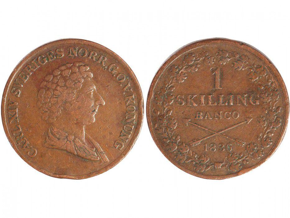 Suède 2 Skillings Charles XIV