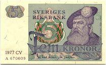 Suède 5 Kronor  - Gustav Vasa - 1977 - CV  - Neuf - P.51