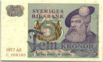 Suède 5 Kronor - Gustav Vasa - 1977 - AS - SPL - P.51