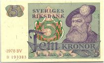 Suède 5 Kronor - Gustav Vasa - 1978 - BV - SUP+ - P.51