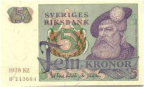 Suède 5 Kronor - Gustav Vasa - 1978 - DS - p.NEUF - P.51