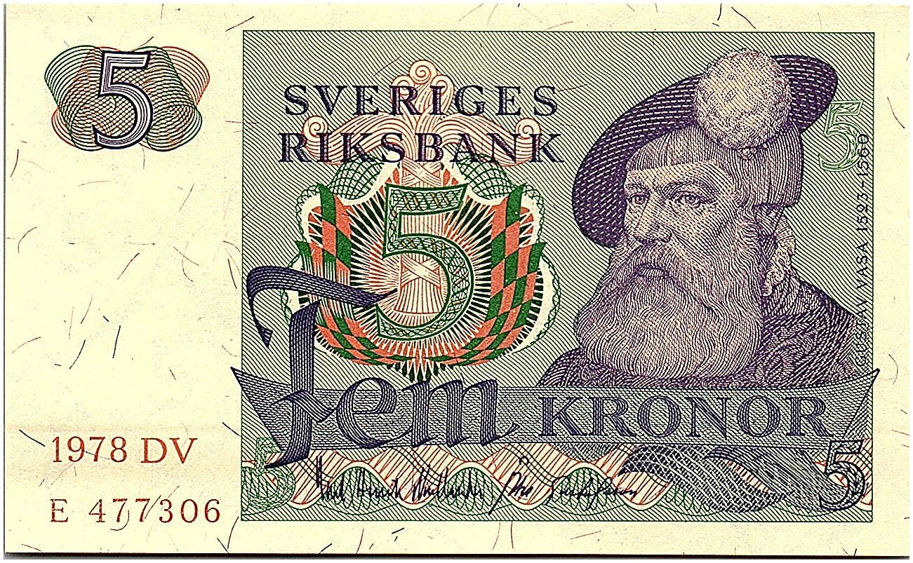 Suède 5 Kronor - Gustav Vasa - 1978 - DV - p.NEUF - P.51